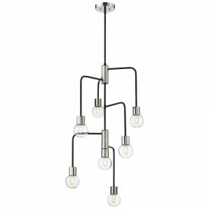 """Universal Lighting and Decor Neutra 22 1/2"""" Wide Matte Black and Polished Nickel 7-Light Chandelier - Style # 96F79"""