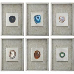 "Uttermost 6-Piece Agate Stones 19 1/2"" High Wall Art Set - Style # 8J170"