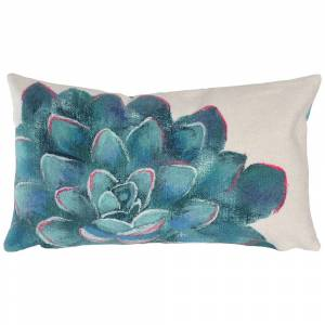 """Trans-Ocean Visions III Succulent Ivory 20"""" x 12"""" Indoor-Outdoor Pillow - Style # 851H0"""