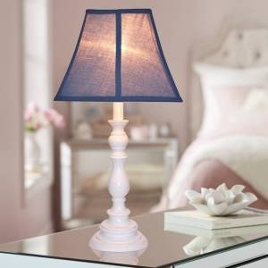 Creative Labs Navy Blue Shade with White Candlestick Base Table Lamp - Style # U7895