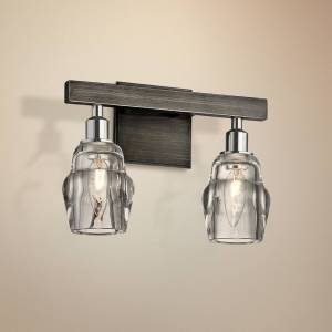 """Troy Citizen 9"""" High Graphite and Nickel 2-Light Wall Sconce - Style # 23W20"""