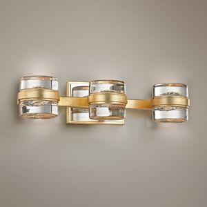 "Troy Splash 18 1/4"" Wide Gold Leaf 3-Light LED Bath Light - Style # 23X58"