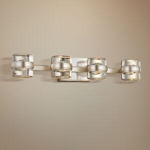 "Troy Splash 25 1/4"" Wide Silver Leaf 4-Light LED Bath Light - Style # 23X61"