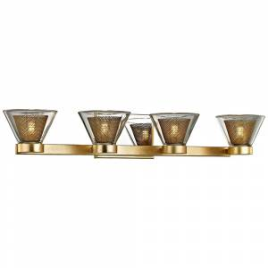 "Troy Wink 27 1/2""W Gold Leaf and Chrome 4-Light LED Bath Light - Style # 23X79"
