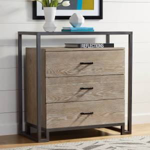 """Elm Lane Liev 33 1/2"""" Wide Wood - Metal 3-Drawer Modern Accent Chest - Style # 32H88"""