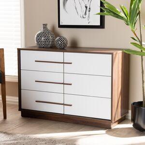 """Baxton Studio 39"""" Wide White Walnut 6-Drawer Wood Dresser - Style # 74N57"""