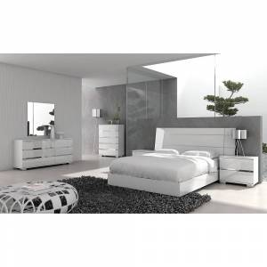 Universal Lighting and Decor Icon High Gloss White California King Platform Bed - Style # 86R63