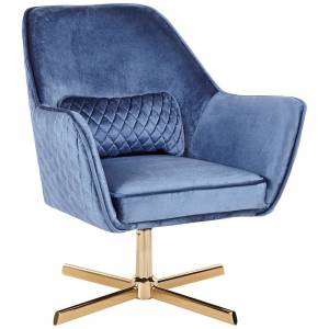 LumiSource Diana Blue Velvet and Gold Metal Swivel Lounge Chair - Style # 67W68