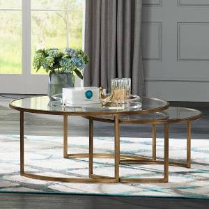 """Uttermost Rhea 42"""" Wide Gold Leaf and Glass Nesting Tables 2-Piece Set - Style # 32T61"""