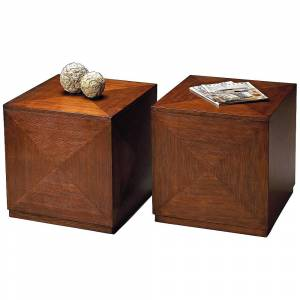 """Butler Transitions 20"""" Wide Chestnut Burl Wood Cube Table - Style # 3T457"""