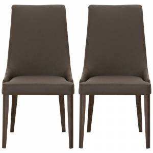 Orient Express Furniture Aurora Dark Umber Leather and Walnut Dining Chairs Set of 2 - Style # 70D48