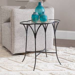 "Uttermost Adhira 24""W Aged Black and Glass Top Accent Table - Style # 78D44"