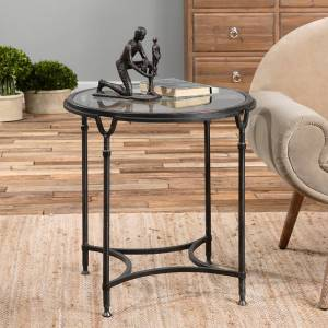 """Uttermost Samson 24 1/2"""" Wide Black Metal Round Side Table - Style # 7W383"""