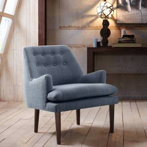 Madison Park Elsa Blue Button Tufted Accent Chair - Style # 82W65