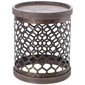 "Madison Park Kagen 16"" Wide Reclaimed Gray Quatrefoil Drum Accent Table - Style # 85V34"