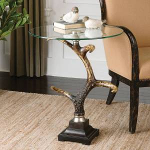 """Uttermost Stag Horn 21 3/4"""" Wide Brown Round Accent Table - Style # 87M65"""