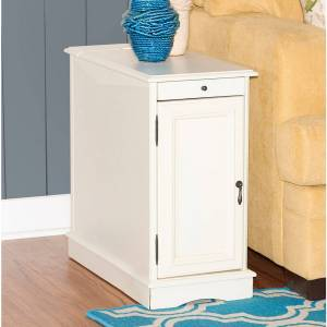 """Powell Butler 12"""" Wide White Wood 1-Door Accent Table - Style # 93M12"""
