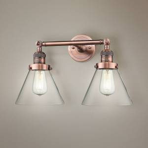 """Universal Lighting and Decor Large Cone 11"""" High Copper 2-Light Adjustable Wall Sconce - Style # 40X61"""