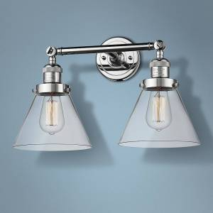 """Universal Lighting and Decor Large Cone 11"""" High Chrome 2-Light Adjustable Wall Sconce - Style # 40X66"""
