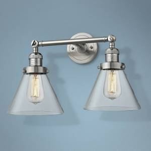 """Universal Lighting and Decor Large Cone 11""""H Satin Nickel 2-Light Adjustable Wall Sconce - Style # 40X67"""