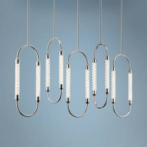 "Elan Kiaan 48 3/4""W Polished Nickel LED Multi Light Pendant - Style # 69E95"