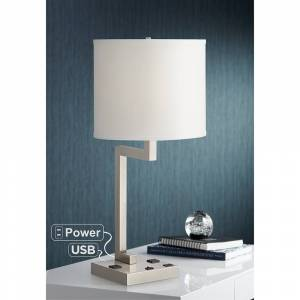Universal Lighting and Decor Medio Tube Brushed Nickel Table Lamp w/ USB Port and Outlets - Style # 84T41