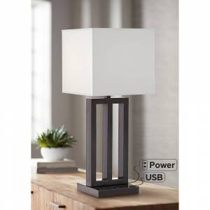 Universal Lighting and Decor Dorn Dark Bronze 3-Tube Table Lamp with USB Port and Outlet - Style # 84V08