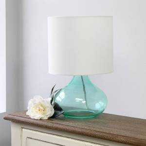 """Universal Lighting and Decor Simple Designs 13 1/2"""" High Aqua Glass Accent Table Lamp - Style # 85W75"""