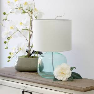 "Universal Lighting and Decor Simple Designs 13""H Aqua Accent Table Lamp with White Shade - Style # 85W80"