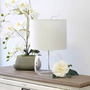 "Universal Lighting and Decor Simple Designs 13"" High Clear Glass White Accent Table Lamp - Style # 85W82"