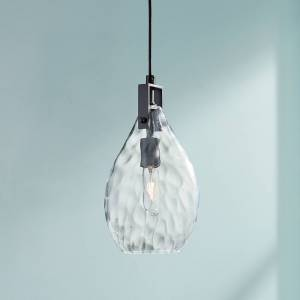 """Uttermost Campester 9"""" Wide Black and Clear Mini Pendant - Style # 8R526"""