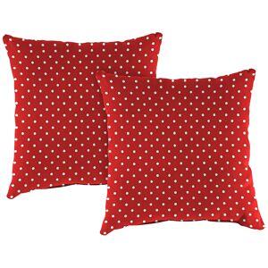 "Jordan Mini Dots Rojo 18"" Square Outdoor Toss Pillow Set of 2 - Style # 38G04"