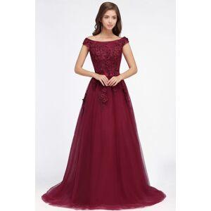 Babyonlinewholesale EMBER   A-line Off-shoulder Floor-length Tulle Appliques Prom Dresses
