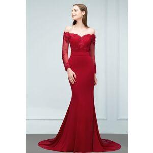 Babyonlinewholesale JOYCE   Mermaid Floor Length V-neck Off-shoulder Long Sleeves Appliqued Prom Dresses