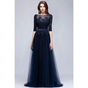 Babyonlinewholesale NANA   A-line Half Sleeves Floor Length Slit Appliqued Tulle Prom Dresses with Sash
