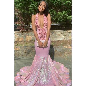 Babyonlinewholesale Alluring Halter Applique Glittering Sequins Prom Dresses   Ruffles Open Back Sexy Mermaid Sleeveless Evening Dresses