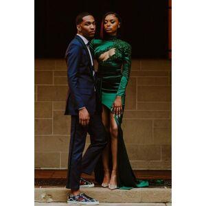 Babyonlinewholesale Sexy Dark Green Appliques Side Split Prom Dress Long SLeeve