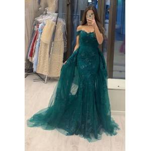 Babyonlinewholesale Off Shoulder Tulle Mermaid Evening Gown with Detachable Train