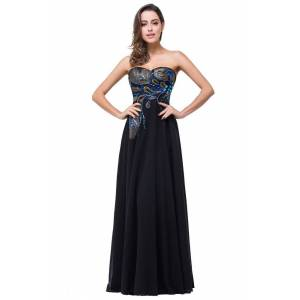 Babyonlinewholesale ADALYNN   A-line Sweetheart Black Evening Dress with Embroidery
