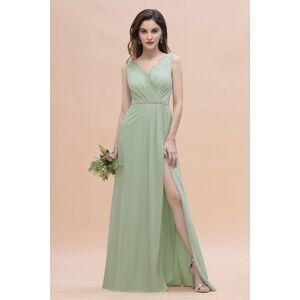 Babyonlinewholesale V-Neck Ruffle Chiffon Beach Wedding Guest Dress Aline Evening Dress with Side Slit