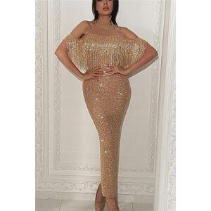Babyonlinewholesale Champagne Halter Gold Sequins Prom Dresses   Sheath Wholesale Tassels Evening Dress