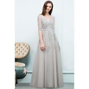 Babyonlinewholesale JORDYNN   A-line Half-sleeve V-neck Floor Length Appliqued Tulle Prom Dresses with Sash