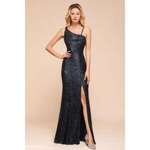 Babyonlinewholesale Timeless Black Sequined One shoulder Column High Split Prom Dress