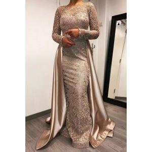 Babyonlinewholesale Charming Long Sleeves Beadings mermaid Prom Dress with Satin Detachable Train