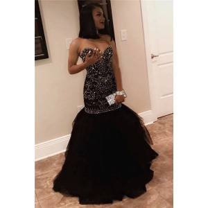 Babyonlinewholesale Sexy Sweetheart Beads Prom Dresses   Mermaid Black Sequins Evening Gown FB0275