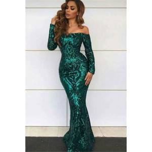 Babyonlinewholesale Off Shoulder Evening Dresses with Sleeves   Sexy Mermaid Sequins Prom Dresses BC0703