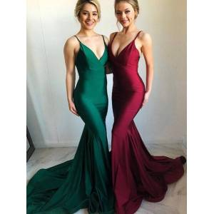 Babyonlinewholesale Sexy Open-Back Mermaid Evening Dresses   Simple Spaghetti Straps Prom Dresses