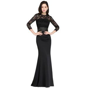 Babyonlinewholesale ARIANNA   Sheath High Neck Black Elegant Evening Dresses with Lace