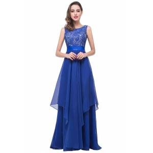 Babyonlinewholesale ADDISON   A-line Floor-length Chiffon Evening Dress with Lace
