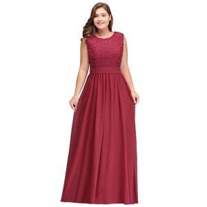 Babyonlinewholesale ITZEL   A-Line Crew Long Sleeveless Lace Chiffon Plus size bridesmaid Dresses with Sash